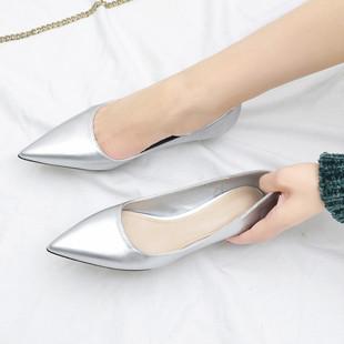 低跟浅口银色单鞋 简约小猫跟鞋 百搭尖头细跟3cm高跟鞋 2019新款