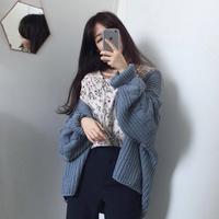 韩版学院风2019春季新款chic纯色宽松百搭灯笼袖长袖麻花针织外套