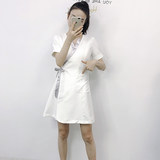 Summer new short-sleeved overalls beautician SPA health technician serving female semi-permanent high-end custom dress