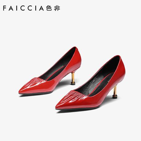 色非2018春秋新款高跟鞋猫跟细跟婚鞋尖头单鞋女性感工作鞋C449P商品大图