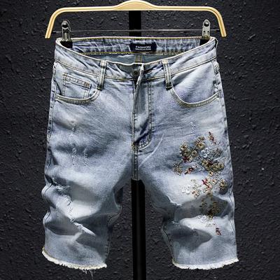 夏季破洞牛仔短裤男五分裤刺绣韩版潮流青年宽松夏天日系马裤复古