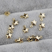 Copper-plated 14K real gold solid Pentagram pendant 5mm self-made DIY bracelet earrings for hand-made accessories