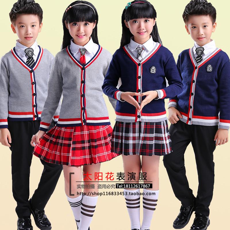 元旦儿童英伦风幼儿园服中小学生大合唱针织毛线衣开衫校服演出服