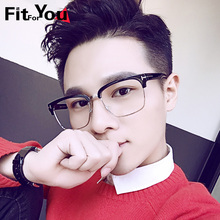 Retro large framed spectacles frame, big face, flat mirror, male myopia glasses, female fashion Japanese half frame glasses rack