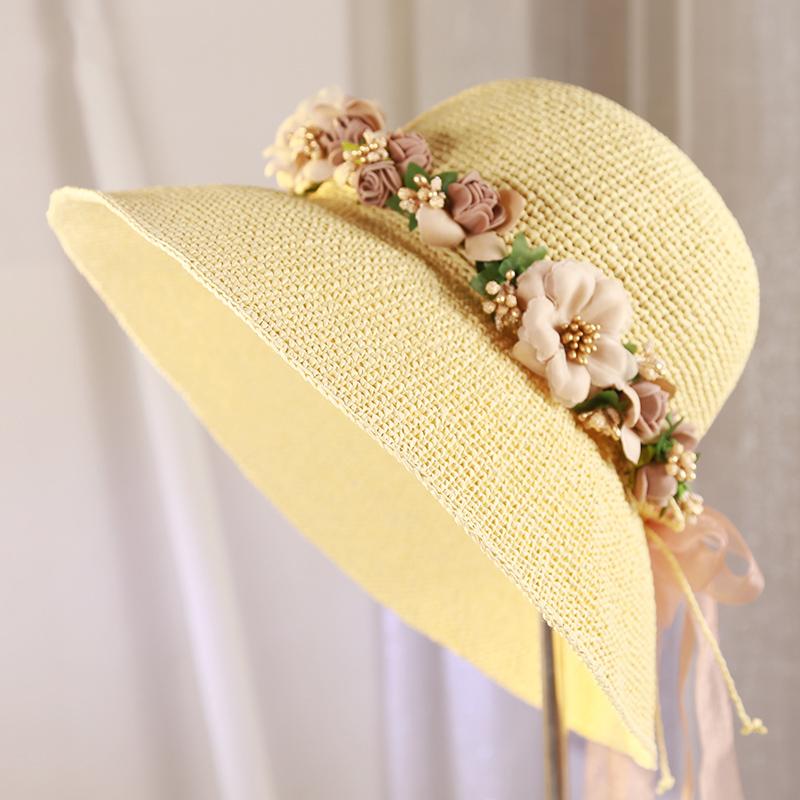 超细拉菲草草帽春夏天季女士盆帽礼帽大檐沿帽旅游帽沙滩帽可折叠3元优惠券