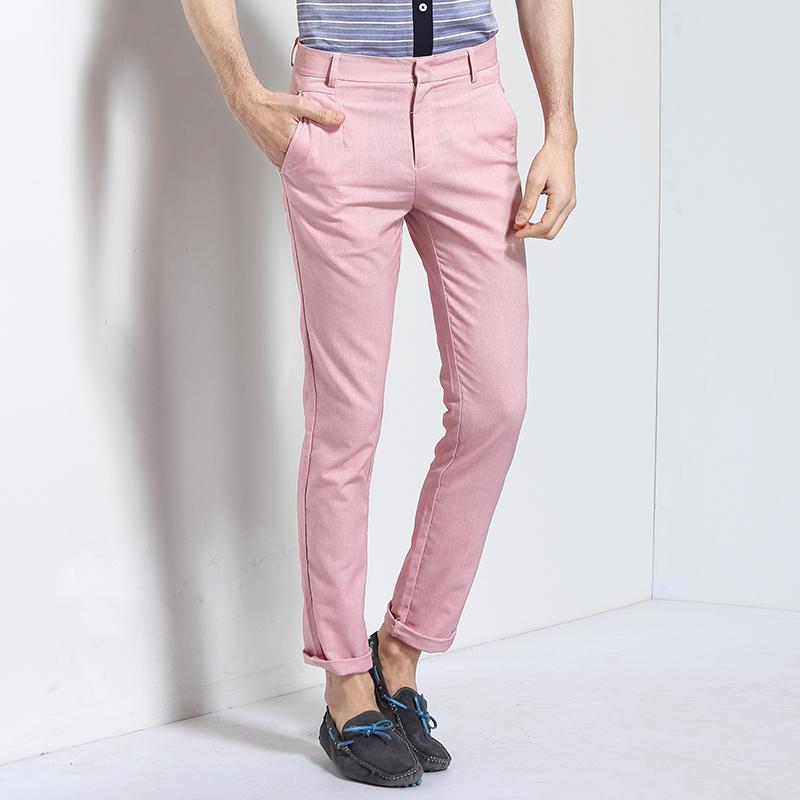 男士休闲裤粉色长裤春夏季新款男士清新简约2017易构EgouEGOU