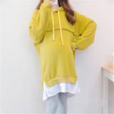 Pregnant dress autumn dress new medium-length can breastfeed loose large size long-sleeved hooded pregnant women wear cotton clothing