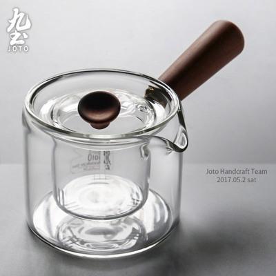 九土玻璃茶壶泡茶侧把壶温茶煮茶器玻璃茶具木把过滤电陶炉煮茶壶