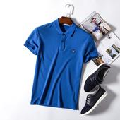 男装 上衣 蓝色上衣百搭休闲翻领新品 惊喜 T恤男夏季薄款 短袖 刚到