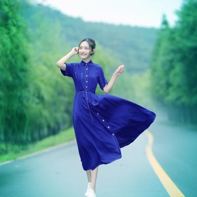 文艺清新复古人棉蓝色短袖连衣裙中长款修身显瘦韩版连衣长裙女夏