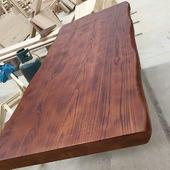 老榆木板材圆吧台面板洗手台面 实木餐桌DIY窗台工作会议办公桌面