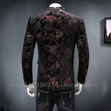 New men's print casual suit Korean version of the slim business mini suit youth fashion single west jacket tide