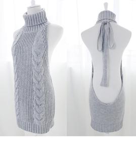日本处男杀手工口毛衣日系高领露背毛衣少女团子无袖性感现货漏肩