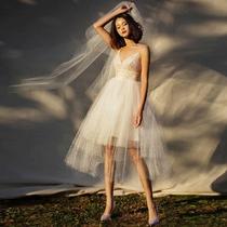 城市穿行沙滩漫步便携轻便小婚纱旅拍写真户外海边短款轻纱礼服裙