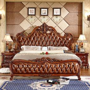 欧式复古床 法式风格卧室高端纯实木雕花床 古典太子床深色家具