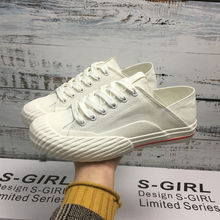 Vulcanized Laptop Shoes Stepping on Two-Wear Shoes sgirl Women's Shoes New Spring Red-Edged Flat-soled Canvas Shoes