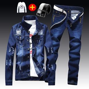 春秋季男士 韩版 夹克牛仔裤 子一套装 修身 休闲帅气潮流外套衣服外衣