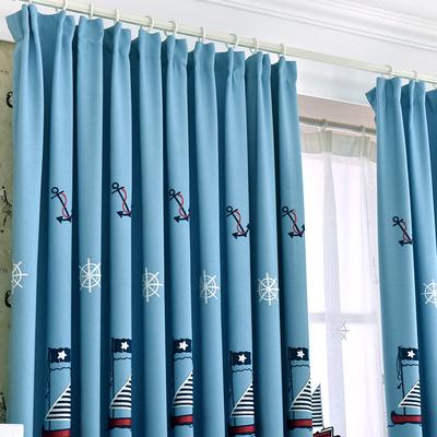 地中海風格繡花窗簾臥室兒童房男生男孩藍色簡約現代成品定做布料專賣店