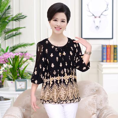 中年女装40-50-60岁妈妈装 夏装短袖T恤中老年人宽松大码上衣新品