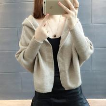 韩版 2019新款 纯色宽松百搭学生连帽针织衫 女开衫 秋装 毛衣外套女装图片