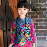 Beanie: Original parent-child costume - ethnic style cotton and linen hand-embroidered ruffled vest vest jacket cheongsam