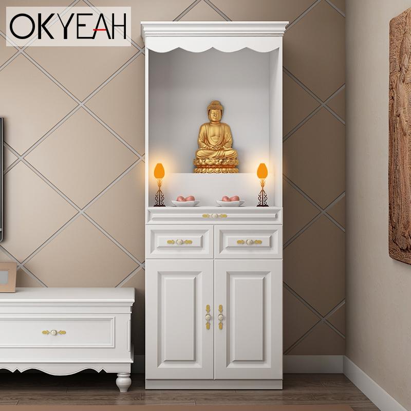 佛龛财神爷供奉桌神位神像供台家用神台神龛佛柜立柜带门简约白色