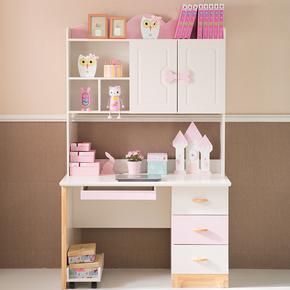 现代简约儿童书台书桌书架书柜一体组合女孩阳台卧室多功能公主风