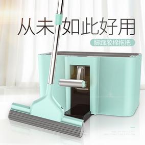 家用海绵拖把头吸水免手洗地板旋转挤水干湿两用大号替换胶棉托把