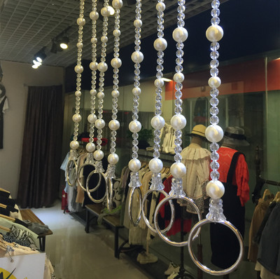 吊環 店 服裝  珍珠水晶吊環  服裝店櫥窗吊掛 衣架珠鏈懸掛 吊鏈銷量排行