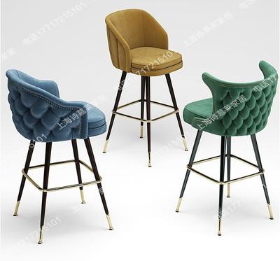 欧式实木吧台椅美式靠背椅复古高脚椅KTV酒吧高脚凳皮艺布艺吧椅
