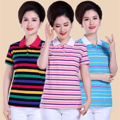 中年女装夏季全棉条纹短袖T恤 妈妈装翻领加大加肥打底衫纯棉上衣