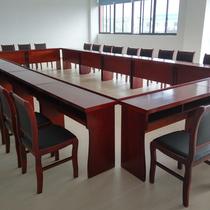 简约会议桌现代椭圆形办公室培训简易小洽谈板式家具电脑长桌椅大