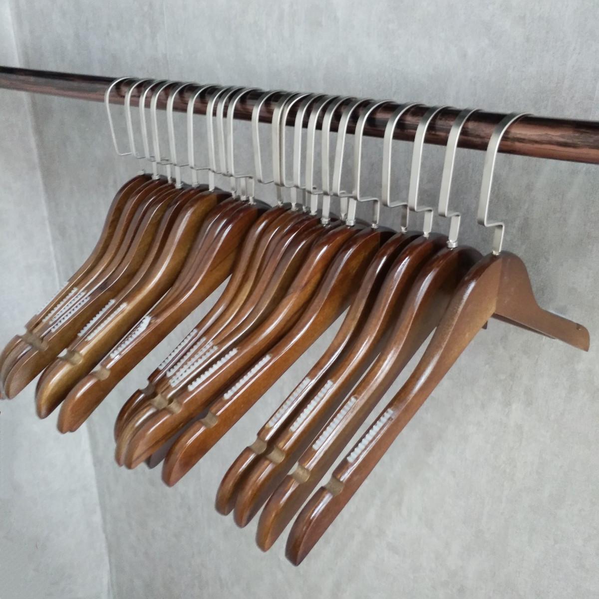 复古实木衣架裤夹木质服装店衣撑子男女装木制防滑衣架无痕包邮