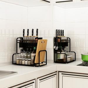 不锈钢厨房置物架调料架子双层桌面台面多功能家用刀架调味品收纳