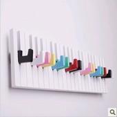 包邮 钢琴挂钩门后墙壁挂创意墙面衣帽架墙上置物架免打孔客厅卧室