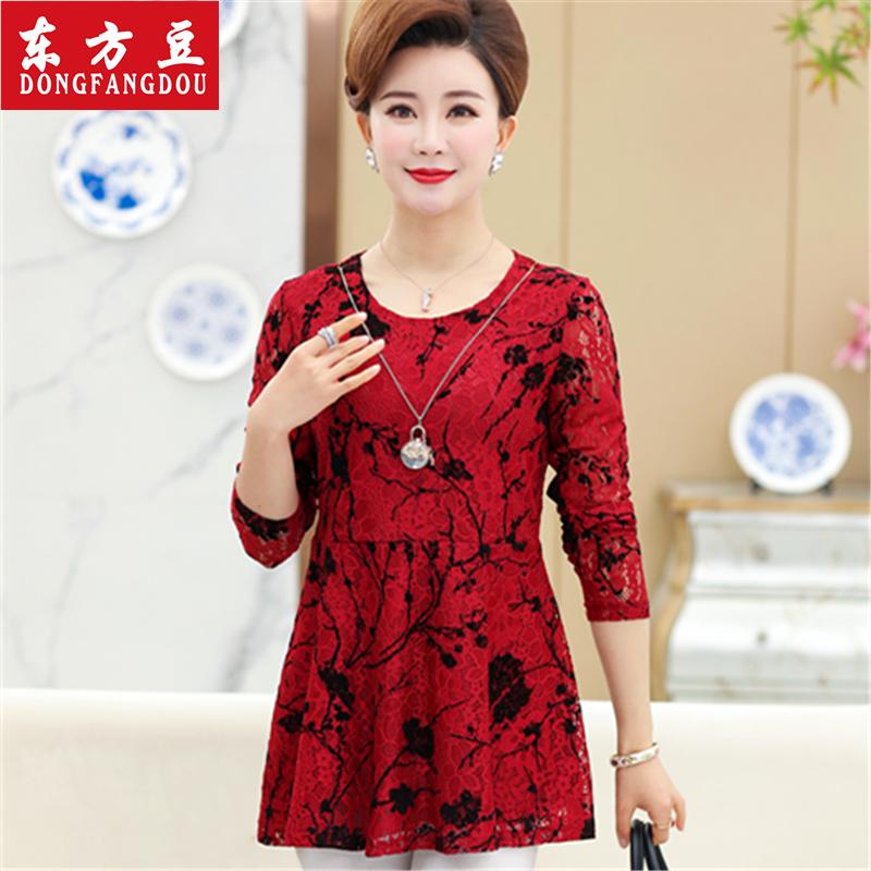中年妈妈装春装蕾丝T恤打底衫中老年女装40-50岁新款长袖连衣裙子