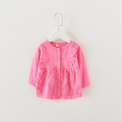 2018新款女宝宝春装0-1-2-3岁婴儿纯棉衣服女童蕾丝花边外套开衫