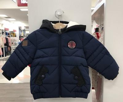 高端中小童装 2018冬款男童宝宝蓝色带帽棉服 加厚棉袄A18H1JP124