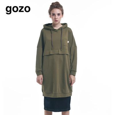 【设计师款】gozo 2017冬 长袖连帽长款卫衣GE7W600700