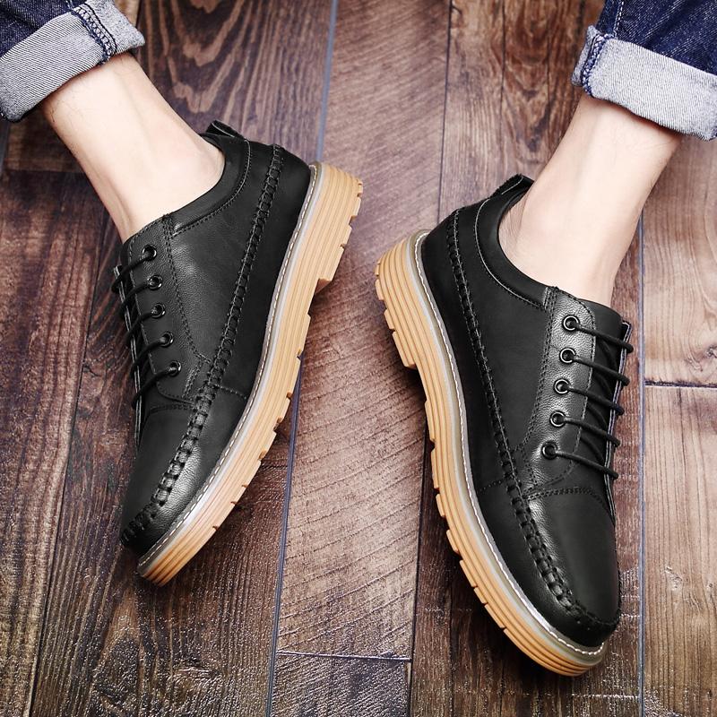 休闲牛筋底皮鞋