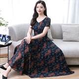 Middle-aged mother chiffon short-sleeved dress 2019 summer new middle-aged V-neck foreign air knee-slim skirt