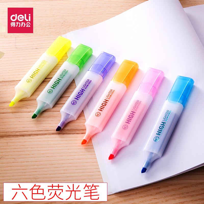 得力s625彩色荧光笔学生办公标记记号笔斜头重点划线笔文具批发