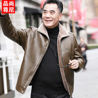 Dad winter clothing plus velvet thick warm jacket 40-50 years old middle-aged men's outerwear winter leather jacket