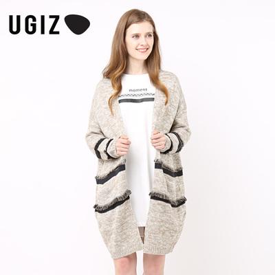 UGIZ春季时尚毛边条纹简约针织开衫外套UAWZ420A