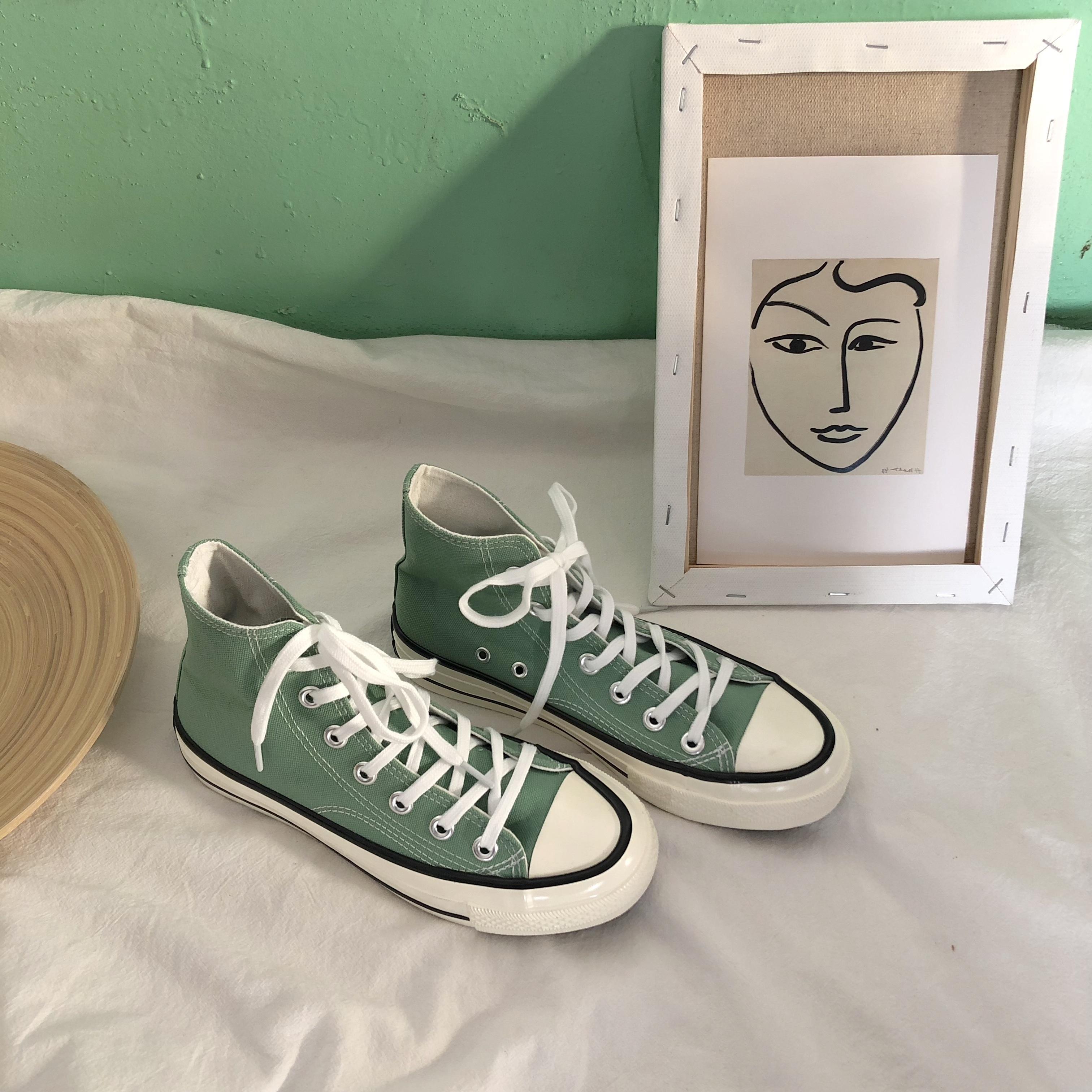 薄荷绿帆布鞋