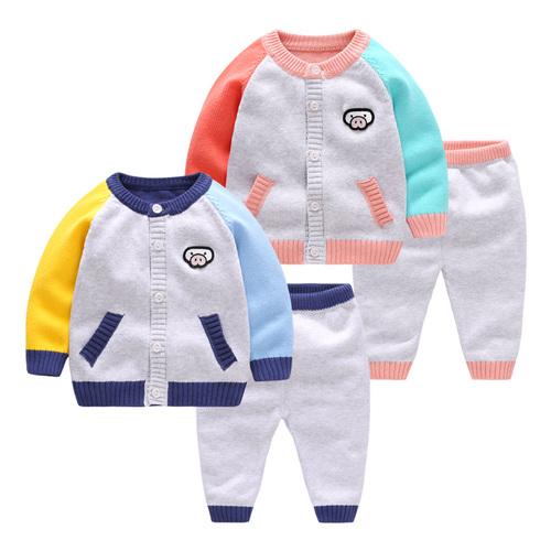 宝宝秋装针织开衫婴儿毛衣套装新生儿棉线纱衣男女儿童秋冬季衣服