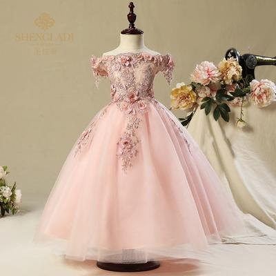 公主裙女童婚纱蓬蓬女孩一字肩长裙儿童主持人钢琴演出服花童礼服66大促