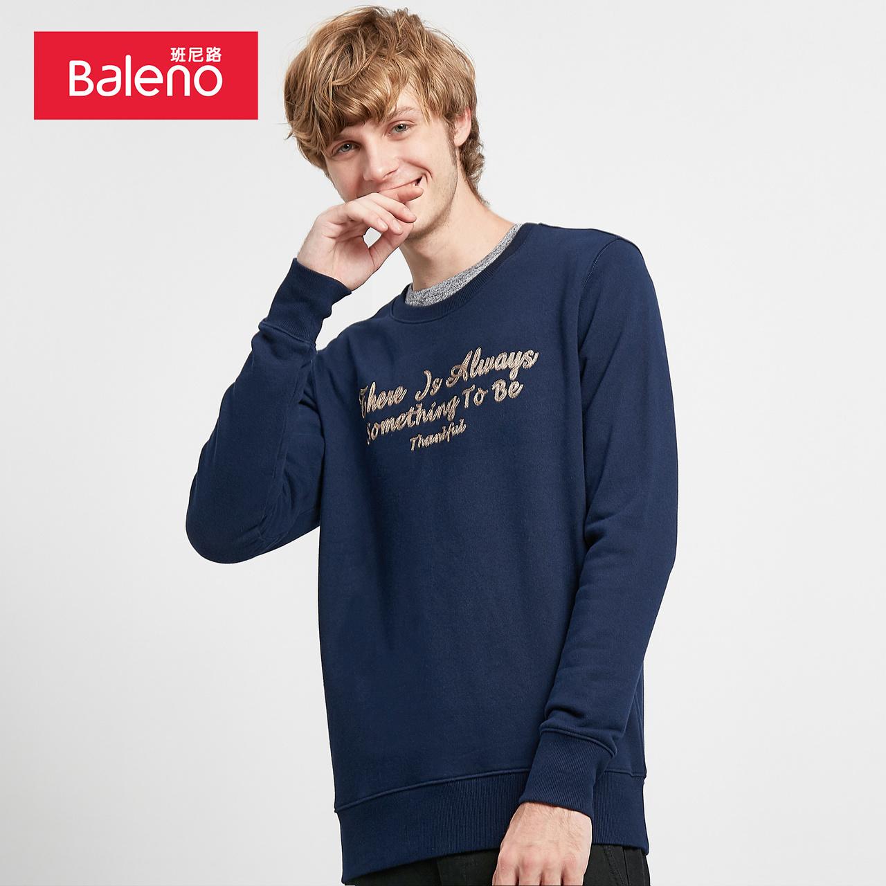 baleno班尼路 卫衣男士长袖t恤潮流秋季套头宽松字母印花外套