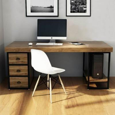 北欧简约书桌书房组合书架抽屉实木电脑台式桌欧式铁艺办公桌家用
