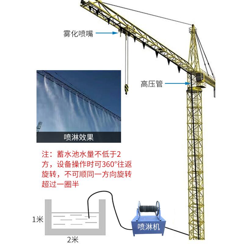 塔吊机喷淋机降尘塔吊喷雾洒水机高空塔机喷雾机环保除尘设备
